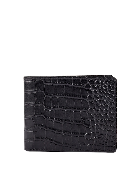 Kara Men Black Textured Two Fold Wallet