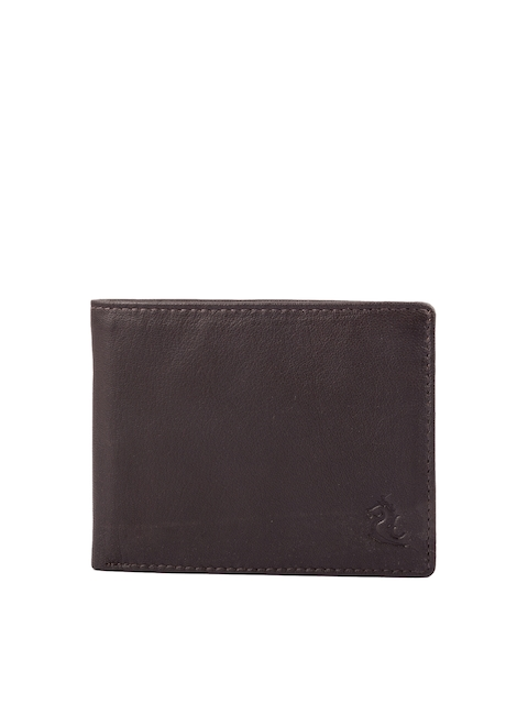 Kara Men Brown Solid Two Fold Genuine Leather Wallet