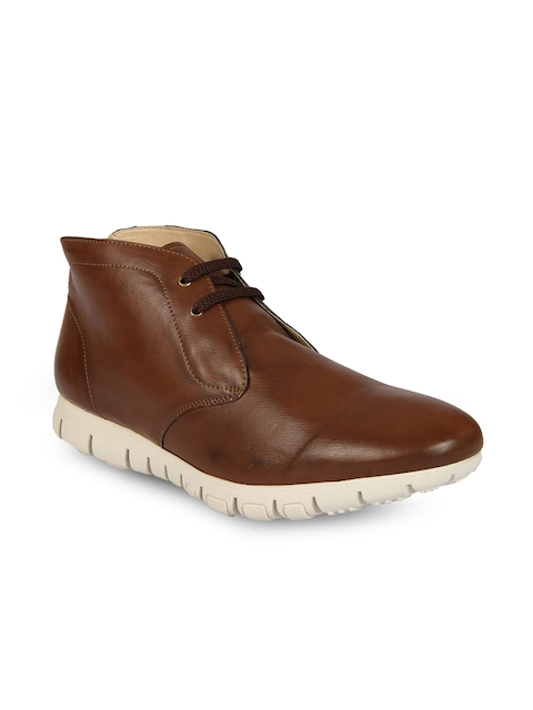 Knotty Derby Men Tan Solid Synthetic Leather Mid-Top Flat Boots