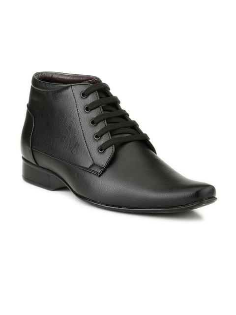 Mactree Men Black Leather Mid-Top Formal Shoes