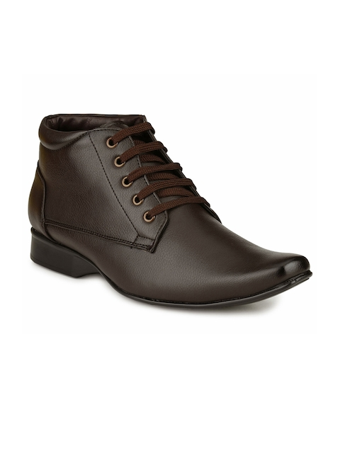 Mactree Men Brown Leather Mid-Top Formal Shoes