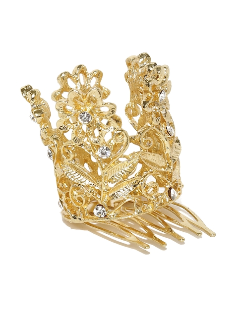 lil star by ayesha Girls Gold-Toned Embellished Comb Pin