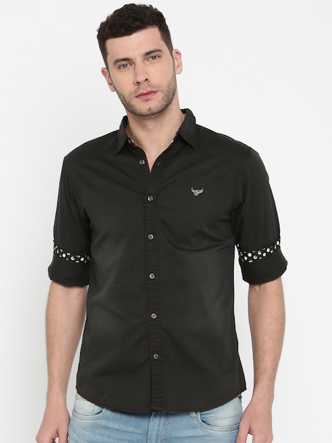 SPYKAR Men Black Slim Fit Faded Casual Shirt
