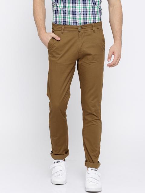 SPYKAR Men Brown Regular Fit Solid Chinos