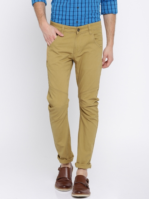 SPYKAR Men Khaki Regular Fit Solid Chinos