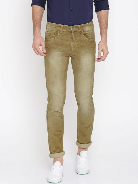 SPYKAR Men Khaki Regular Fit Solid Cordrouy Trousers