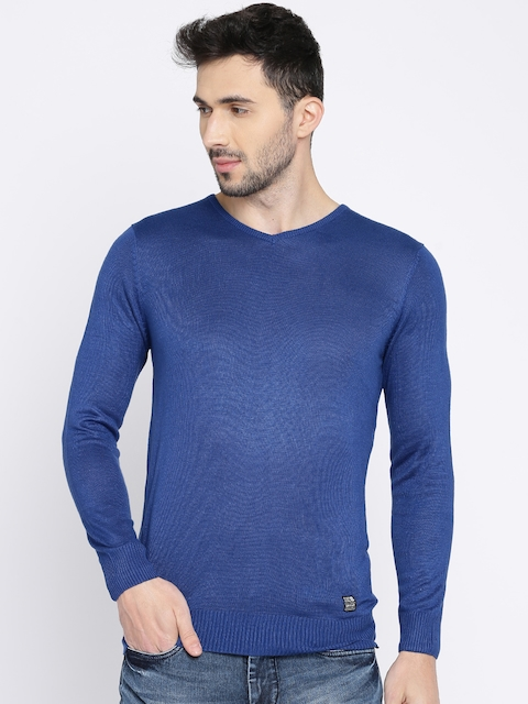 SPYKAR Men Blue Solid Pullover