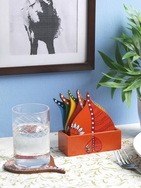 VarEesha Set of 6 Wooden Hand Painted Multi-Coloured Coasters