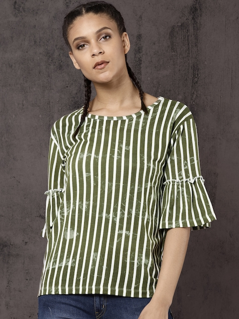 Roadster Women Olive Green & White Striped Top