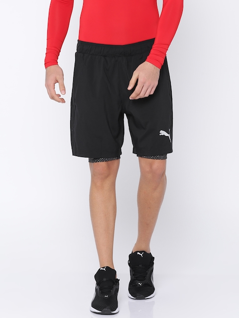 Puma Men Black Woven Solid Regular Fit Sports Shorts
