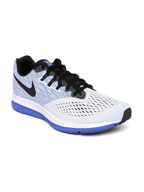 Nike Men Light Grey & Blue ZOOM WINFLO 4 Running Shoes