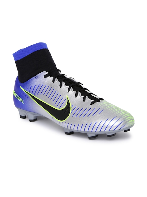 Nike Men Silver-Toned Synthetic Mid-Top MERCURIAL VICTORY VI Football Shoes