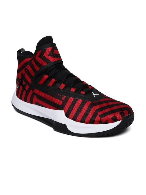 Nike Men Red & Black JORDAN FLY UNLIMITED Mid-Top Basketball Shoes