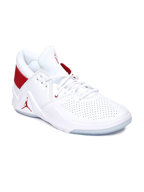 Nike Men White Leather JORDAN FLIGHT FRESH Mid-Top Basketball Shoes