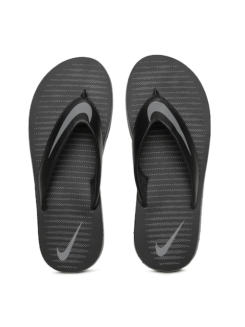 Nike Men Black & Grey CHROMA Printed Flip-Flops