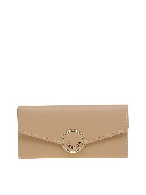 ESBEDA Women Beige Solid Two Fold Wallet