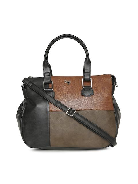 Baggit Brown & Black Colourblocked Handheld Bag