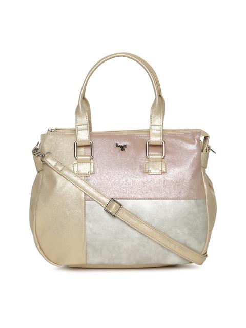 Baggit Beige & Pink Colourblocked Handheld Bag