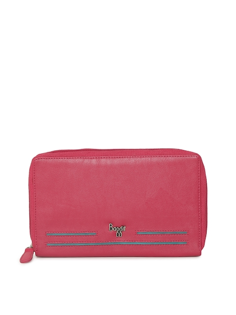 Baggit Women Pink Solid Zip Around Wallet