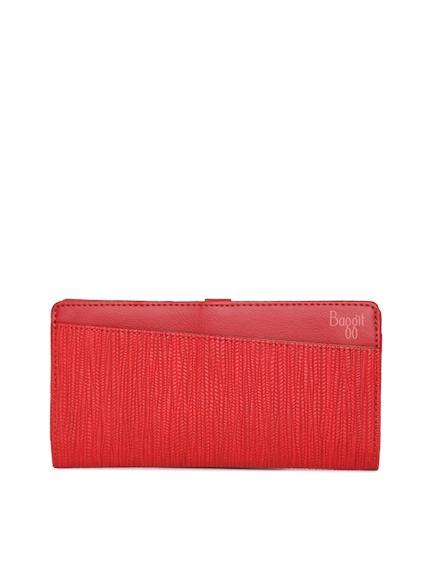 Baggit Women Red Textured Two Fold Wallet
