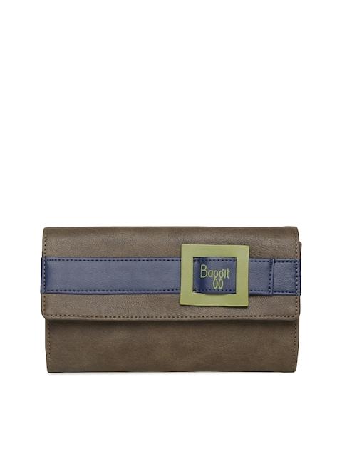 Baggit Women Brown Colourblocked Two Fold Wallet
