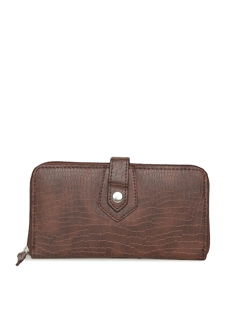 Baggit Women Brown Textured Zip Around Wallet
