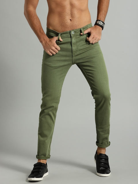 Roadster Men Olive Green Skinny Fit Mid-Rise Clean Look Stretchable Jeans