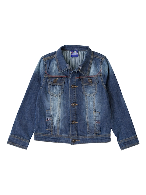 Lilliput Girls Blue Solid Open Front Jacket