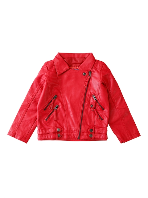 Lilliput Girls Red Solid Open Front Jacket