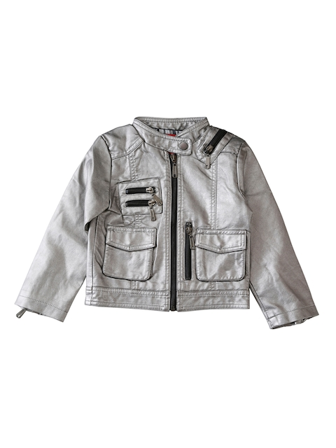 Lilliput Boys Silver-Toned Solid Open Front Jacket