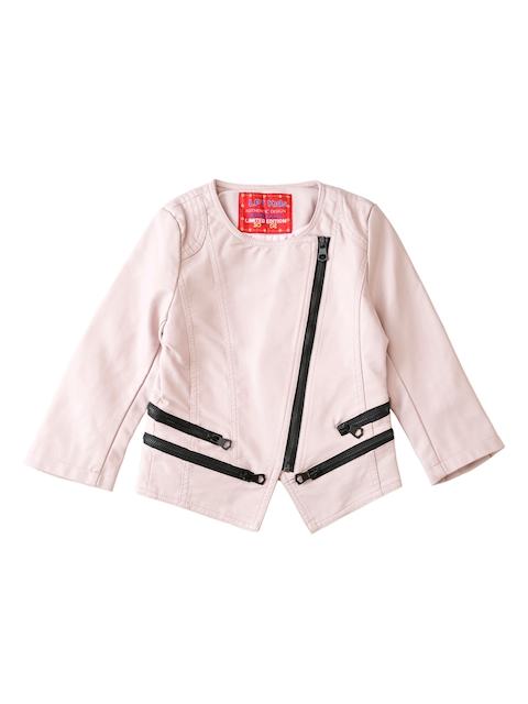 Lilliput Girls Pink Solid Open Front Jacket