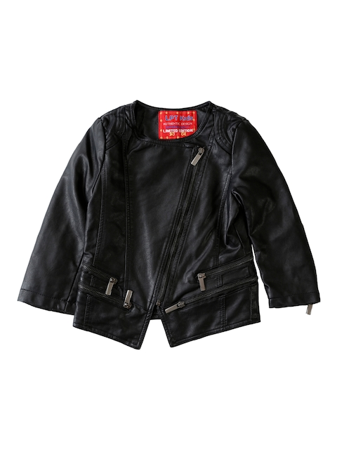 Lilliput Girls Black Solid Open Front Jacket