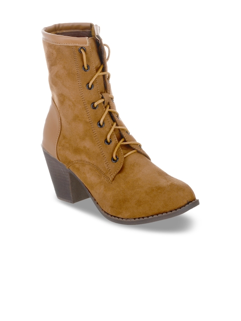 SHUZ TOUCH Women Tan Solid Heeled Boots
