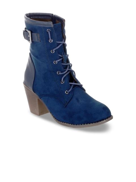 SHUZ TOUCH Women Blue Solid Heeled Boots