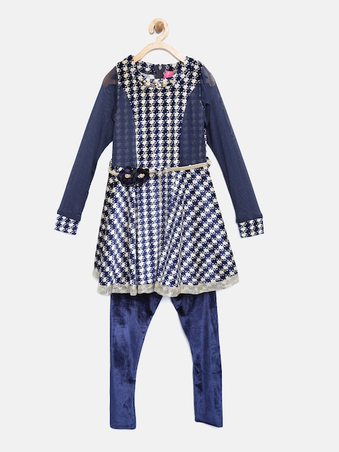 Tiny Girl Navy Blue Printed Fit and Flare Dress