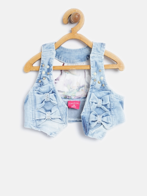 Tiny Girl Blue Front-Open Denim Waistcoat