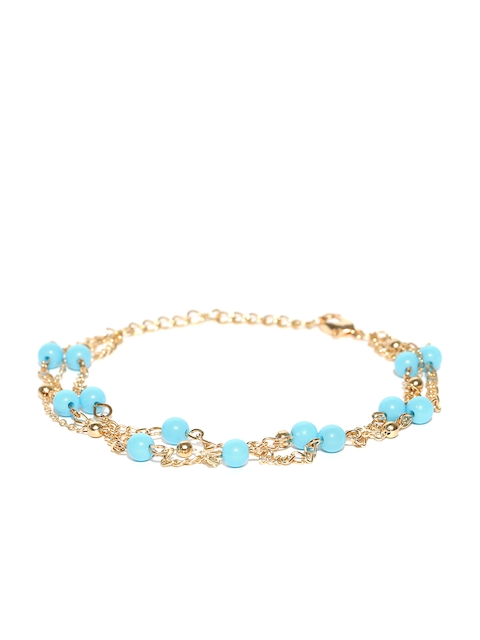 Chika Gold-Toned & Turquoise Blue Beaded Layered Anklet