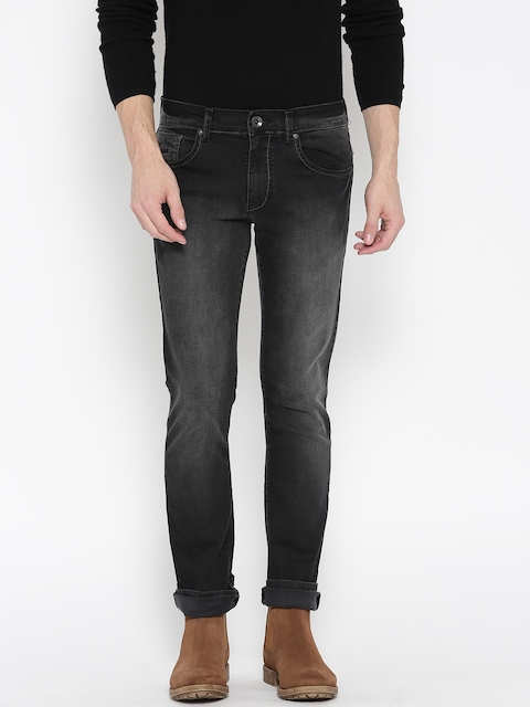 Pepe Jeans Men Black Dawson Slim Fit Low-Rise Clean Look Stretchable Jeans