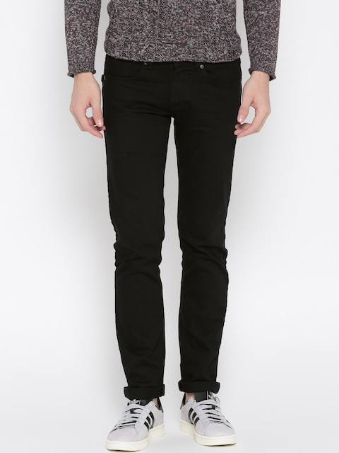 Pepe Jeans Men Black Hatch Fit Low-Rise Clean Look Stretchable Jeans