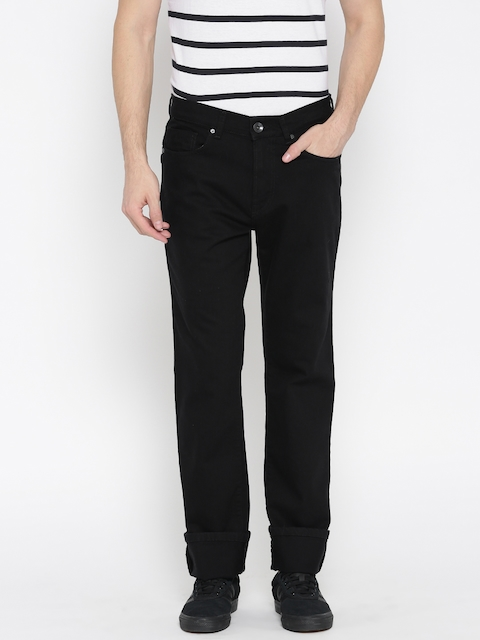 Pepe Jeans Men Black Kingston Fit Mid-Rise Clean Look Stretchable Jeans