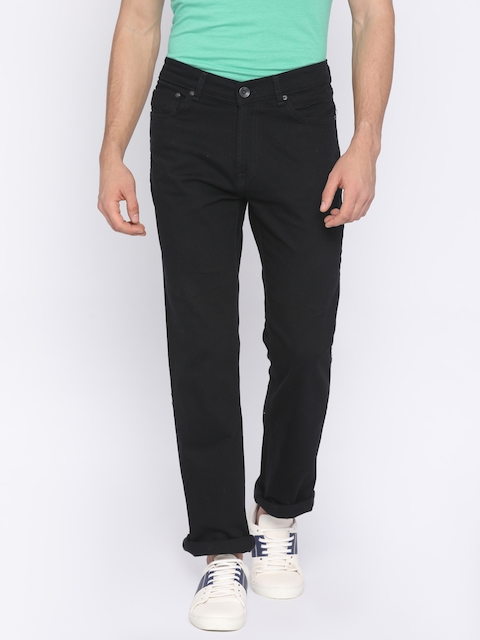 Pepe Jeans Men Black Regular Fit Mid-Rise Clean Look Stretchable Jeans