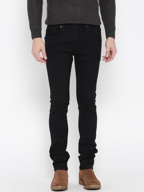 Pepe Jeans Men Black Vapour Slim Fit Low-Rise Clean Look Stretchable Jeans
