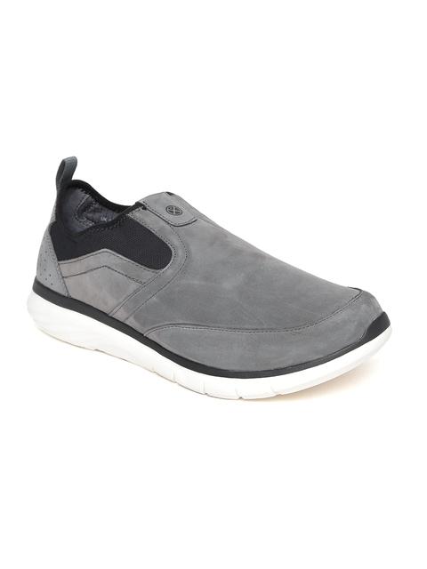 Hush Puppies Men Grey Leather Slip-On Sneakers
