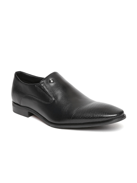 Hush Puppies Men Black Leather Semiformal Slip-Ons with Perforations