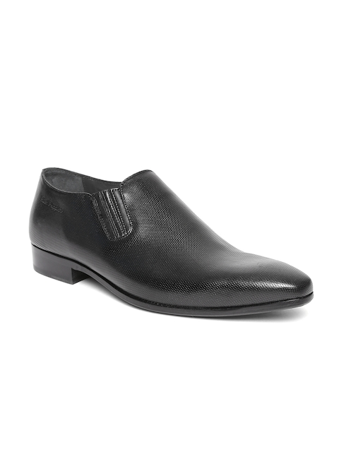Hush Puppies Men Black Textured Leather Formal Slip-Ons
