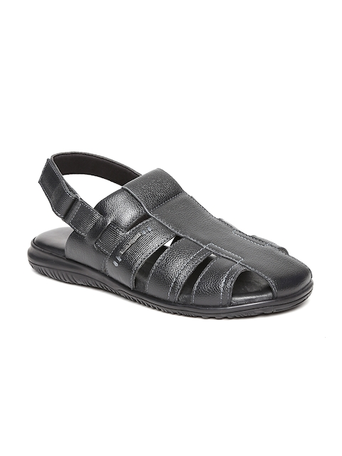 Hush Puppies Men Black Leather Comfort Sandals