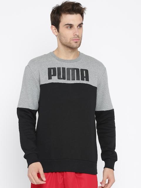 Puma Men Black & Grey Melange Colourblocked RebelBlock Crew FL Sweatshirt