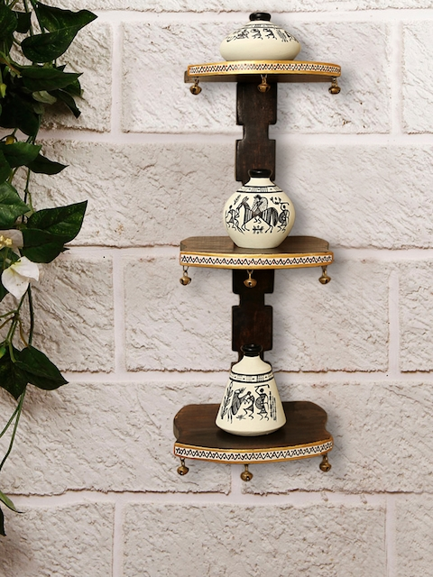 ExclusiveLane Brown & White Wooden Wall Shelf With Terracotta Handpainted Pots