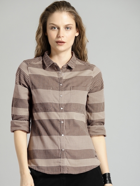 Roadster Women Beige Regular Fit Checked Casual Shirt