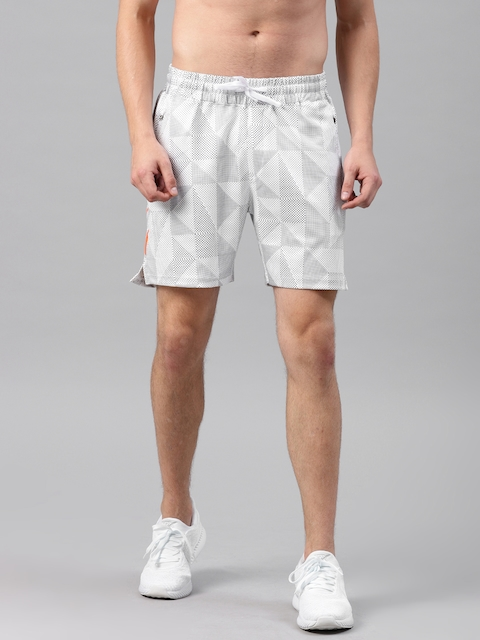 HRX by Hrithik Roshan Men White Printed Regular Fit Sports Shorts